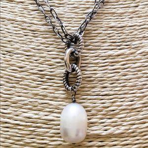 EUC SILPADA Pearl Toggle Necklace Sterling 2-Chain